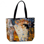 Artzwear Klimt Mother Child 3 Ages of Woman Tote Bag Silk Screen Print Canvas Large
