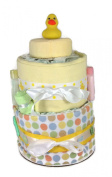 Sunshine Gift Baskets - Little Ducky Nappy Cake Gift Set with Polka Dots
