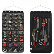 Jewellery Hanging Non-woven Organiser 40 Pockets 20 Hook, Dual Sides Space-saving Household Accessory Holder Storage With Metal Hanger