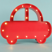 DeVida Kids Lamps for Boys Room, Unique Red Car Decor and Lighting for Baby Nursery, Changing Table Night Light or Playroom. Place on Table or Wall. 30cm LED Cordless Battery Operated Metal Steel