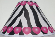 Pink Hearts and Zebra Print Lamp Shade / Zebra Print Nursery Decor