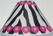 Pink Hearts and Zebra Print Lamp Shade / Zebra Print Nursery Decor