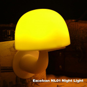 Excelvan LED Nightlight Smart intelligent Light and Sound Control Sensor, Mushroom Style,3modes Warm Yellow Light