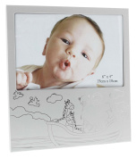Original White 10cm x 15cm Noah's Ark Themed Baby Picture Frame By Haysom Interiors