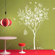 Spring Tree with Bridcage (All White) - Beautiful Tree Wall Decals for Kids Rooms Teen Girls Boys Wallpaper Murals Sticker Wall Stickers Nursery Decor Nursery Decals