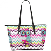 Ewa Customised Chevron Owl Women's Leather Tote Shoulder Bags Handbags