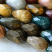 Ocean Jasper Beads 8x12mm Faceted Rounded Teardrop - 8 Inch Strand