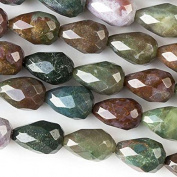 Fancy Jasper Beads 8x12mm Faceted Rounded Teardrop - 8 Inch Strand
