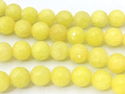 10 BEADS - Faceted yellow dyed jade gemstone beads 10 mm - GM394