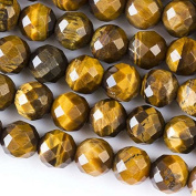 Large Hole 2.5mm Drilled 10mm Yellow Tiger Eye Beads Faceted Round - 8 Inch Strand