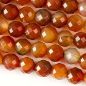 Large Hole 2.5mm Drilled 10mm Carnelian Beads Faceted Round - 8 Inch Strand