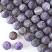 Large Hole 2.5mm Drilled Amethyst Beads 10mm Matte Round - 8 Inch Strand