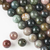 Large Hole 2.5mm Drilled Fancy Jasper Beads 10mm Smooth Round - 8 Inch Strand