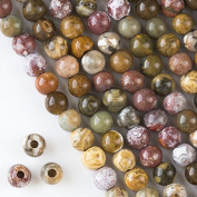 Large Hole 2.5mm Drilled Ocean Jasper Beads 8mm Smooth Round - 8 Inch Strand