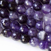 Large Hole 2.5mm Drilled Amethyst Beads 8mm Faceted Round - 8 Inch Strand