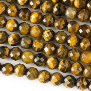 Large Hole 2.5mm Drilled Yellow Tiger Eye Beads 8mm Faceted Round - 8 Inch Strand