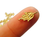 Foxy Findings Hamsa Collection Super Tiny Hand of Fatima 24k Gold Plated Brass Connector Charms 14mm Set of 10