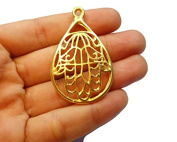 Foxy Findings Hamsa Collection Large Hand of Fatima 24k Gold Plated Brass Teardrop Charm Pendant 48mm Set of 1