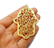 Foxy Findings Hamsa Collection Large Hand of Fatima Matte Finish 24k Gold Plated Brass Charm Pendant 68mm Set of 1