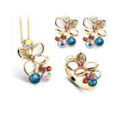 2016 Newest Luxurious Austrian Crystal Fresh Flower Necklace,Earrings and Ring Jewellery Set, Holiday Gift for Girls