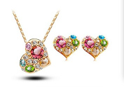 2016 Newest Luxurious Austrian Crystal Heart Love Necklace and Earrings Jewellery Set, Holiday Gift for Girls