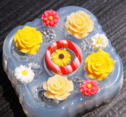 Multi-Clear-silicone Ring Moulds 1 ps ring + 9 flower for stud earring, art,craft.