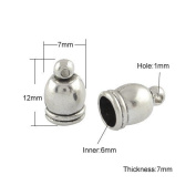 Pack 10 x Antique Silver Tibetan 7 x 12mm Kumihimo Bell-Shape End Caps - (HA11925) - Charming Beads