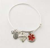 Diabetic Heart Medical Alert Bangle Bracelet, emergency health charm bracelet