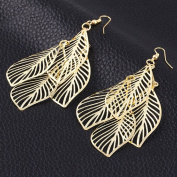 Leiothrix Hollow Leaf Shape Alloy Earrings for Women and Girls Apply to Weeding Party Gift