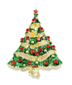 Christmas Tree Brooch Pin Crystal Enamel Rhinestone Brooch Bouquet Pin for Gift