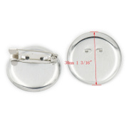 """100 pcs 30mm 1 3/16"""" Metal Round Safety Pin Back Brooch Finding DIY Base Clip Colour Nickle"""