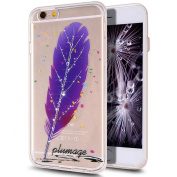 iPhone 6S Plus Case,iPhone 6 Plus Case,iPhone 6S Plus TPU Case,NSSTAR Inside Shiny Glitter Powder Feather Panited Clear TPU Soft Silicone Bumper Case Cover for iPhone 6S/6 Plus 14cm ,Purple