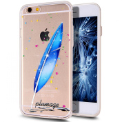 iPhone 6S Plus Case,iPhone 6 Plus Case,iPhone 6S Plus TPU Case,NSSTAR Inside Shiny Glitter Powder Feather Panited Clear TPU Soft Silicone Bumper Case Cover for iPhone 6S/6 Plus 14cm ,Bright Blue