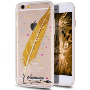 iPhone 6S Plus Case,iPhone 6 Plus Case,iPhone 6S Plus TPU Case,NSSTAR Inside Shiny Glitter Powder Feather Panited Clear TPU Soft Silicone Bumper Case Cover for iPhone 6S/6 Plus 14cm ,Golden Gradient