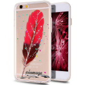 iPhone 6S Case,6S Case,iPhone 6 Case,iPhone 6S TPU Case,NSSTAR Inside Shiny Glitter Powder Feather Panited Clear TPU Soft Silicone Bumper Case Cover for iPhone 6S/6 12cm ,Red Gradient