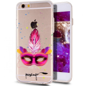 iPhone 6S Plus Case,iPhone 6 Plus Case,iPhone 6S Plus TPU Case,NSSTAR Inside Shiny Glitter Powder Masquerade Mask Panited Clear TPU Soft Silicone Bumper Case Cover for iPhone 6S/6 Plus 14cm ,Hot Pink