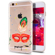 iPhone 6S Plus Case,iPhone 6 Plus Case,iPhone 6S Plus TPU Case,NSSTAR Inside Shiny Glitter Powder Masquerade Mask Panited Clear TPU Soft Silicone Bumper Case Cover for iPhone 6S/6 Plus 14cm ,Red