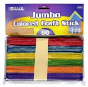 6 Pk, Bazic Jumbo Coloured Craft Stick 50 Per Pack