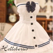 4 PCS 1/3 SD16 DD DY BJD Dress Suit Outfit / European Style Dress Doll Dollfie LUTS / Tee Dress Sailor Suit / White + Dark-Blue Horizontal Stripe