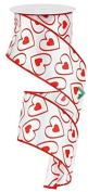 Wired Satin White w/hearts Ribbon-6.4cm x 10yds- All the Makings