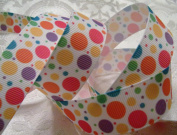 Grosgrain Ribbon - *Springtime Bubble Dot Print* - 2.2cm Wide - 5 Yards - Hair Bows & Crafts