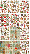 Valentine's Day Scrap Images on 12 Collage Sheet BUNDLE! Save $6.00!! For Altered Art, Scrapbooking, Card Making etc.