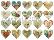 Valentine's Day Hearts Collage Sheet #114 for Altered Art, Scrapbooking, Design, Cards