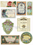 French Vintage Perfume Labels Collage Sheet #101