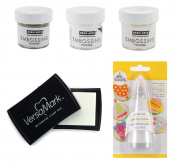 Heat Embossing Essentials - Hero Arts Powders - Clear, White & Gold, Versamark Ink Pad and Powder Tool
