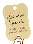 Summer-Ray.com 48 Personalised Cream Wedding Sparklers Tags Let Love Sparkle