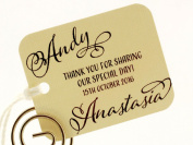 Summer-Ray.com 50 Personalised Ivory/Cream Mini Rounded Rectangle Wedding Favour Gift Tags II