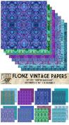 Paper Pack (24sh 15cm x 15cm ) Pastel Floral Patterns FLONZ Vintage Paper for Scrapbooking and Craft