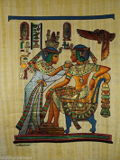 "KING TUT EATING WITH HIS WIFE ORIGINAL HAND PAINTED PAPYRUS 12""x16"""