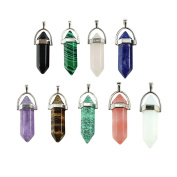 Surprising 9-Piece Crystal Hexagonal Healing Point Pendant Chakra Cut Gemstone Pendant